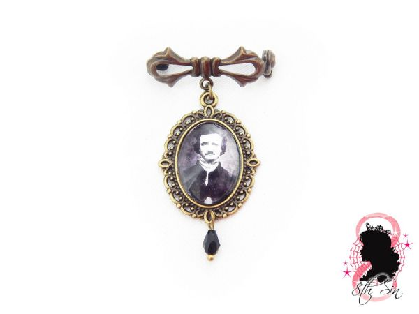 Antique Bronze Edgar Allan Poe Lapel Brooch